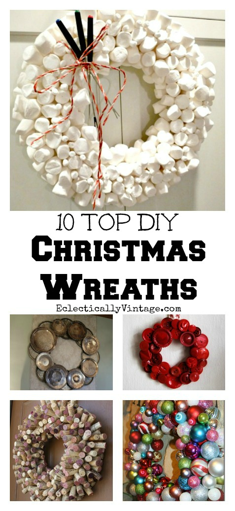 10 Top DIY #Christmas #Wreaths - love every single one of these! kellyelko.com