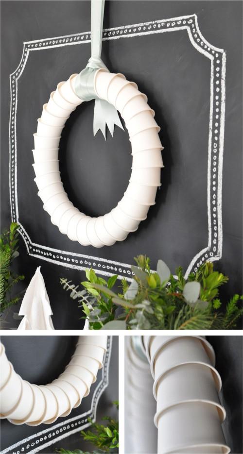 Paper cup wreath kellyelko.com