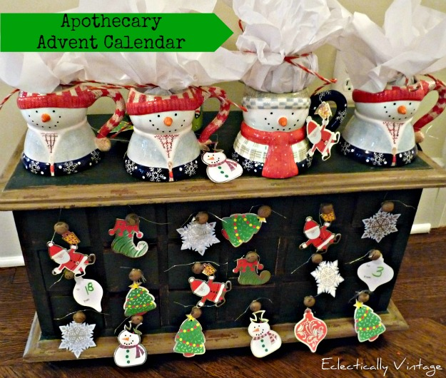 Christmas Open House Tour - filled with tons of unique Christmas decorating ideas like this cute advent calendar!  kellyelko.com