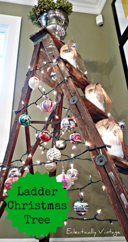 Christmas Open House Tour - filled with tons of unique Christmas decorating ideas like this ladder tree!  kellyelko.com