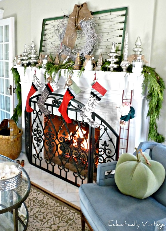 Christmas Open House Tour - filled with tons of unique Christmas decorating ideas like this mantel!  kellyelko.com
