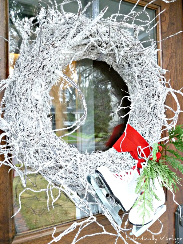 Christmas Open House Tour - filled with tons of unique Christmas decorating ideas like this snowy twig wreath!  kellyelko.com