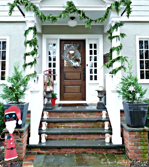 Christmas Open House Tour - filled with tons of unique Christmas decorating ideas like this porch!  kellyelko.com