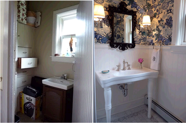 Beautiful before and after of this stunning powder room kellyelko.com