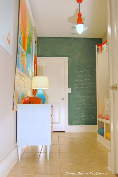 Bold mudroom with chalkboard wall