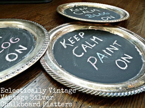 DIY Vintage Silver Chalkboard Platters kellyelko.com