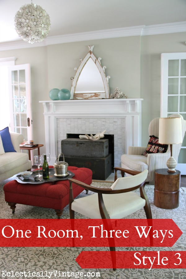 Living Room styled 3 different ways - using what they had and no money spent! kellyelko.com