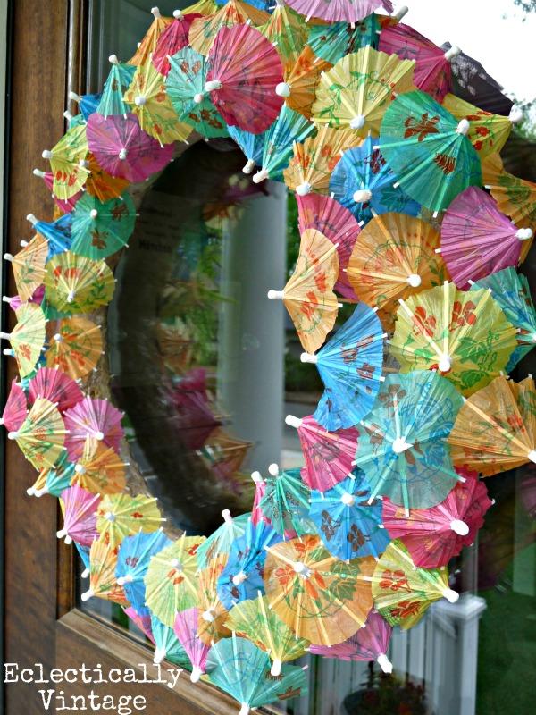 Make a Summer Cocktail Umbrella Wreath - how fun!  kellyelko.com