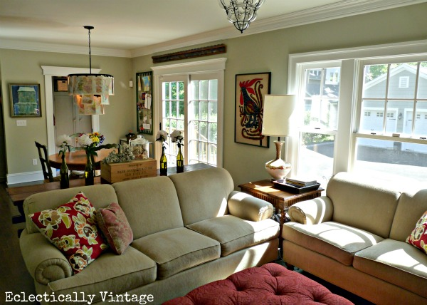 Small family room - wait until you see the after! kellyelko.com #beforeandafter #familyroom