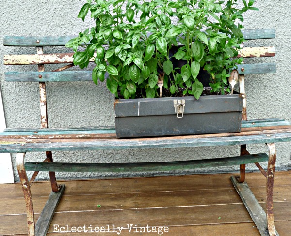 Toolbox Planter and stamped silver markers - how unique!  kellyelko.com