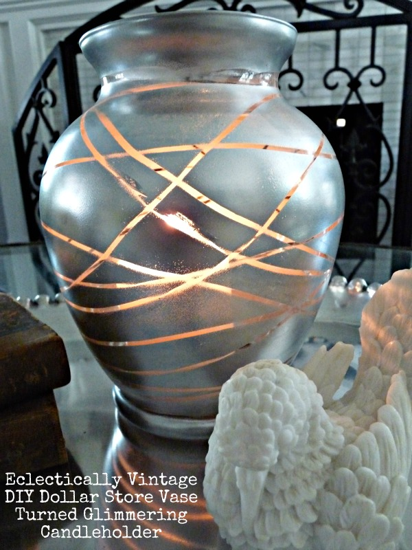 Great glass crafts - Dollar store vase turned mercury glass candle holder.  kellyelko.com