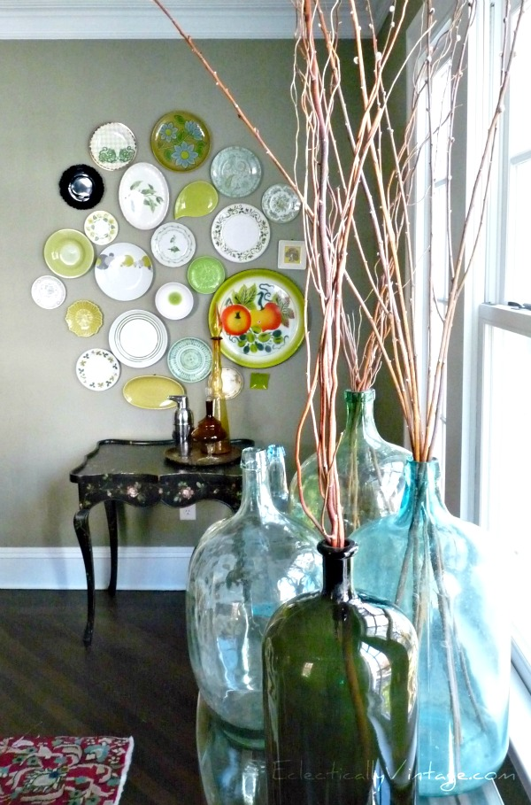 Eclectic green plate wall kellyelko.com