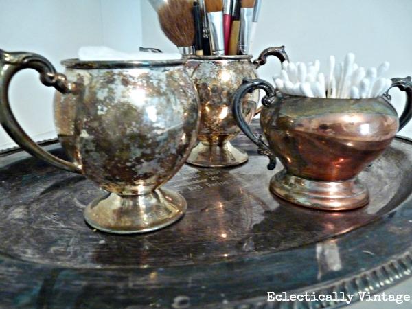 Silver tea set storage. kellyelko.com