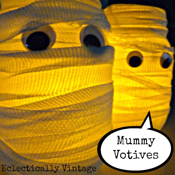 DIY Mummy Votives for Halloween kellyelko.com