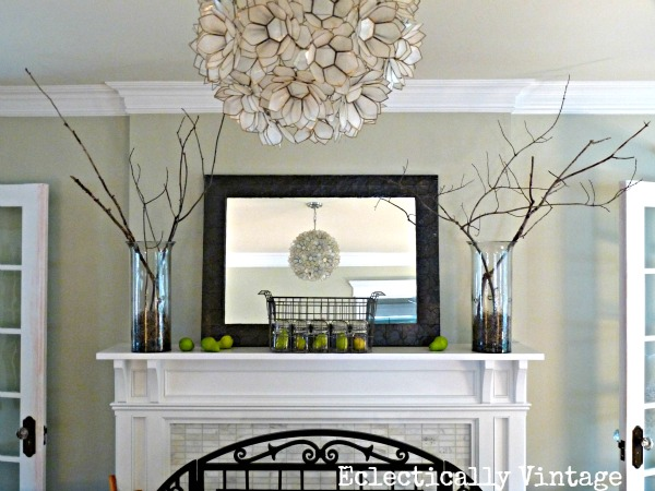 Fall mantel - love the branches in glass vases kellyelko.com #fall #fallmantel #falldecor
