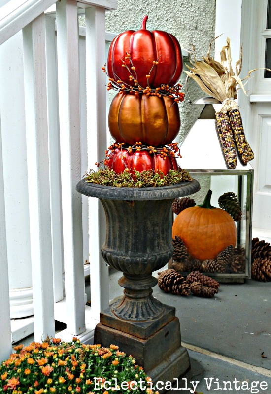 Fall porch diy pumpkin topiaries kelly elko Fall outdoor decorating with pumpkins