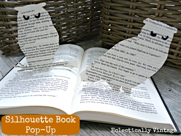 Pop Up Book Page Owl Silhouette - easy way to make your own!  kellyelko.com