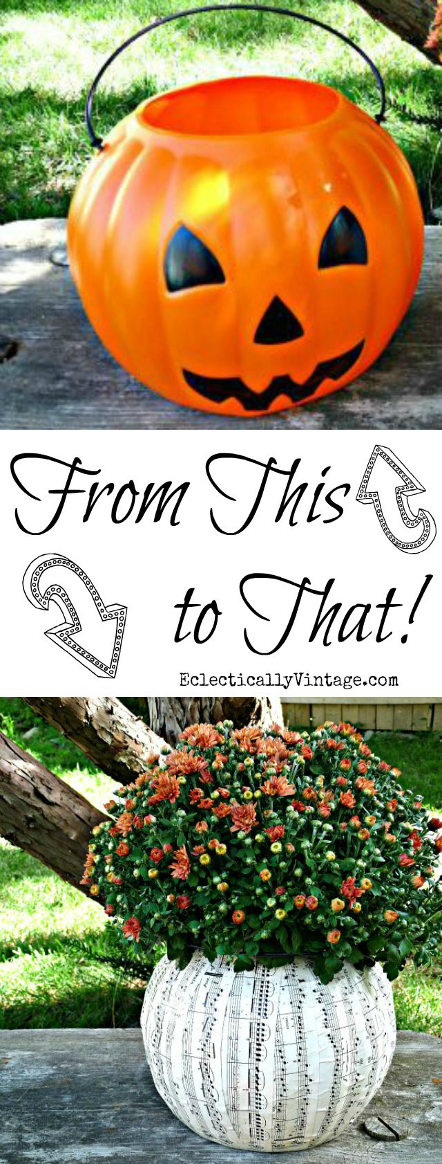 Plastic Pumpkin Ideas - turn an ugly plastic pumpkin pail into a fun planter - step by step directions kellyelko.com