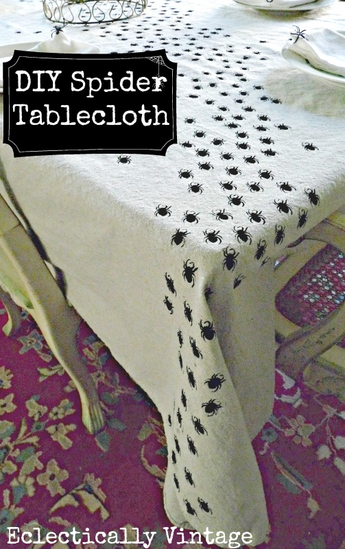 #Halloween Crafts -  Make this Swarming Spider Tablecloth - be the hit of your dinner party!  kellyelko.com