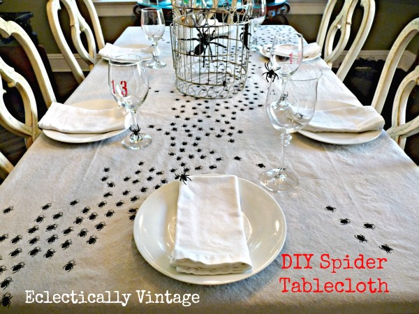 Make this swarming spiders tablecloth for your Halloween table kellyelko.com
