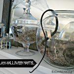 Under Glass Halloween Mantel