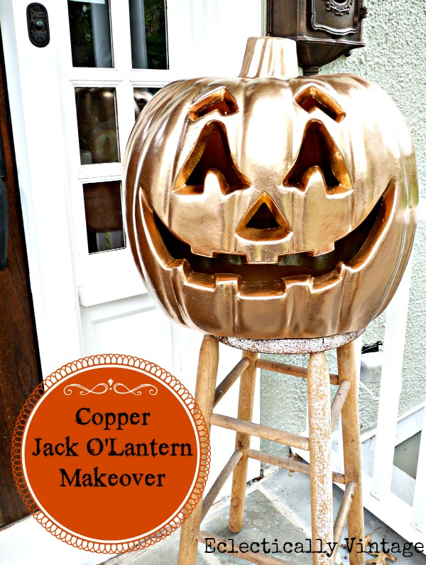 Turn a boring plastic pumpkin into a metallic beauty kellyelko.com