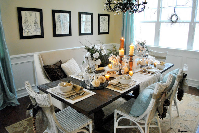 Vintage inspired dining room - love the mix of chairs and the settee!