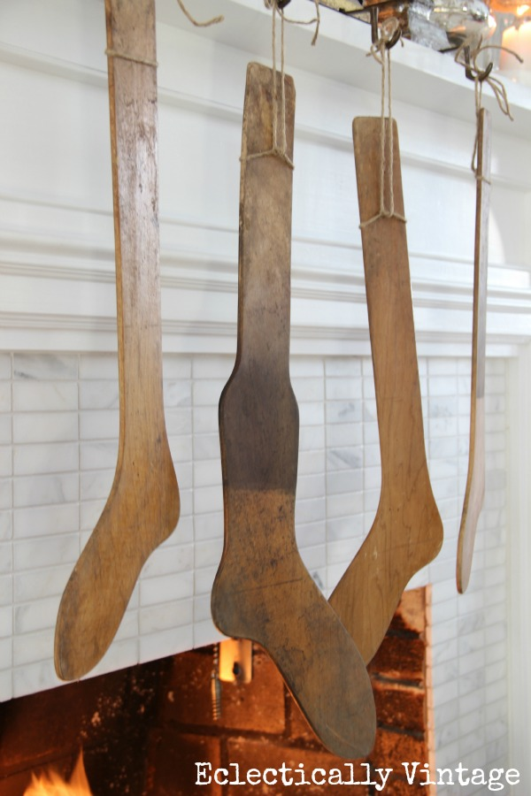 Christmas House Tours - step inside this 100 year old home filled with tons of fabulous decorating ideas like these antique stocking stretchers!  kellyelko.com