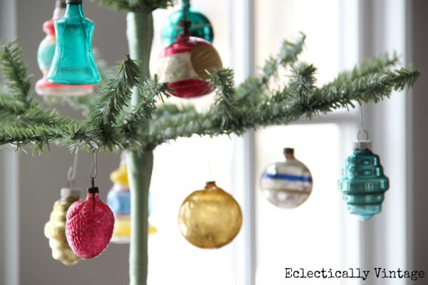 Christmas House Tours - step inside this 100 year old home filled with tons of fabulous decorating ideas like these feather trees!  kellyelko.com