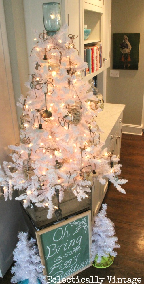 Christmas House Tours - step inside this 100 year old home filled with tons of fabulous decorating ideas like this mason jar ornament white tree!  kellyelko.com