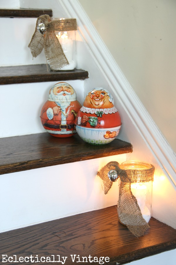 Christmas House Tours - step inside this 100 year old home filled with tons of fabulous decorating ideas like these snowy mason jar candles!  kellyelko.com