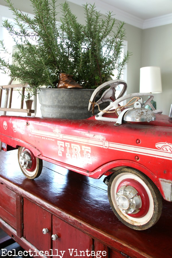 Vintage red fire truck Christmas decor kellyelko.com