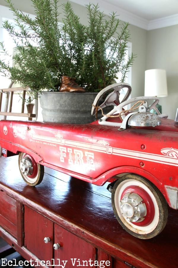 Vintage red fire truck Christmas decor kellyelko.com