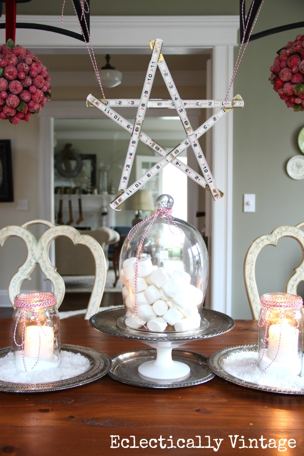 Creative Christmas Decorating Ideas - set a table with snowy mason jar candles and marshmallows kellyelko.com