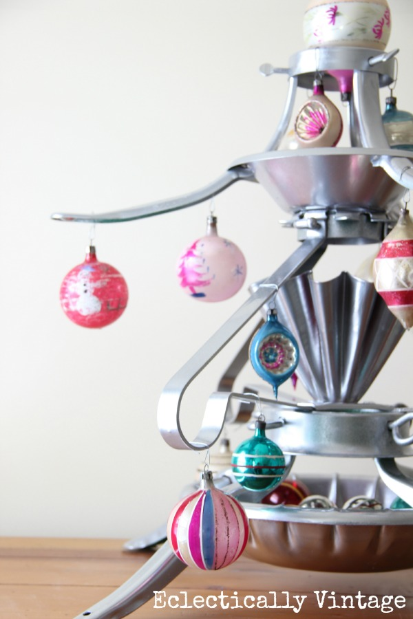 Unique Christmas Trees - a Christmas Tree Stand Tree! kellyelko.com #christmas #christmastree #repurposeChristmas #vintagechristmas #christmasornaments