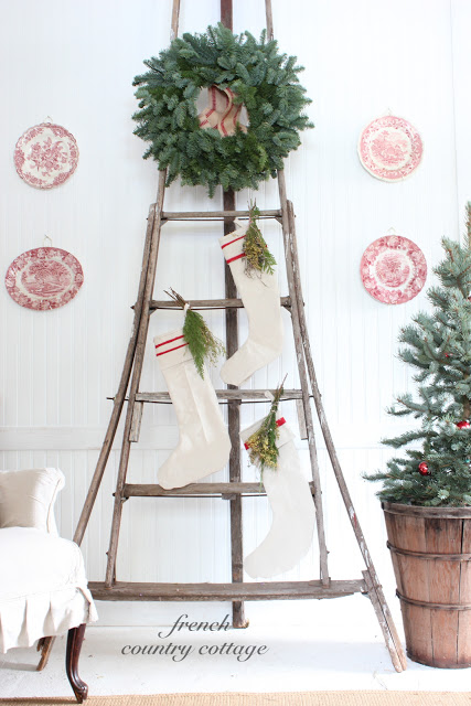 Vintage ladder decked out for Christmas