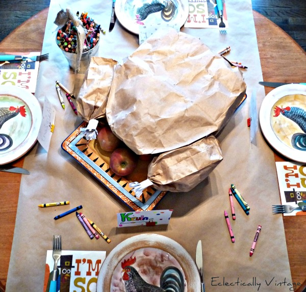 "Make a paper bag turkey for Thanksgiving! So much for for the kids table and wait until you see what's inside when you ""carve"" it. kellyelko.com #thanksgiving #thanksgivingcrafts #idsthanksgiving #turkey #fallcrafts #kidstable #papercrafts"