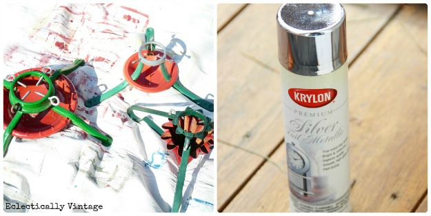 How to make a Christmas Tree stand tree! kellyelko.com #christmas #christmastree #repurposeChristmas #vintagechristmas #christmasornaments