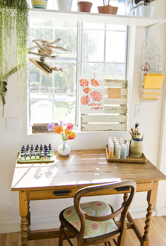 Such a cute little office nook - love the shelf over the window kellyelko.com