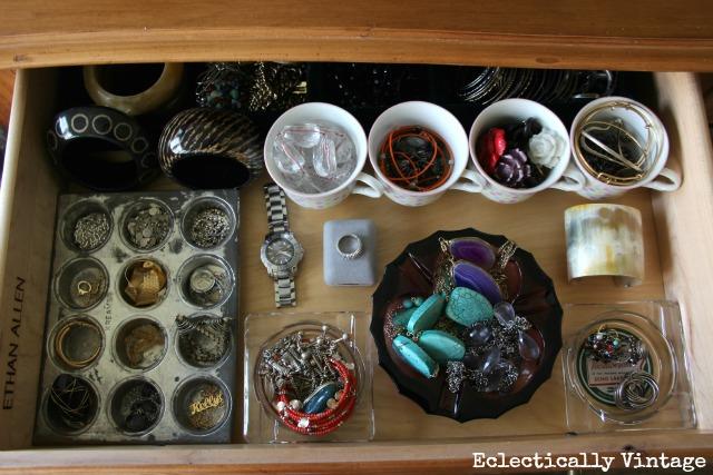 Vintage jewelry organizer - pretty ways to organize any junk drawer!  kellyelko.com