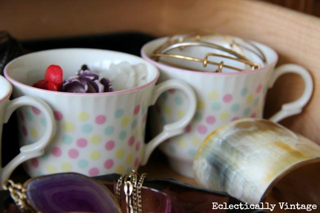 Vintage jewelry storage ideas as pretty as the jewelry!  kellyelko.com