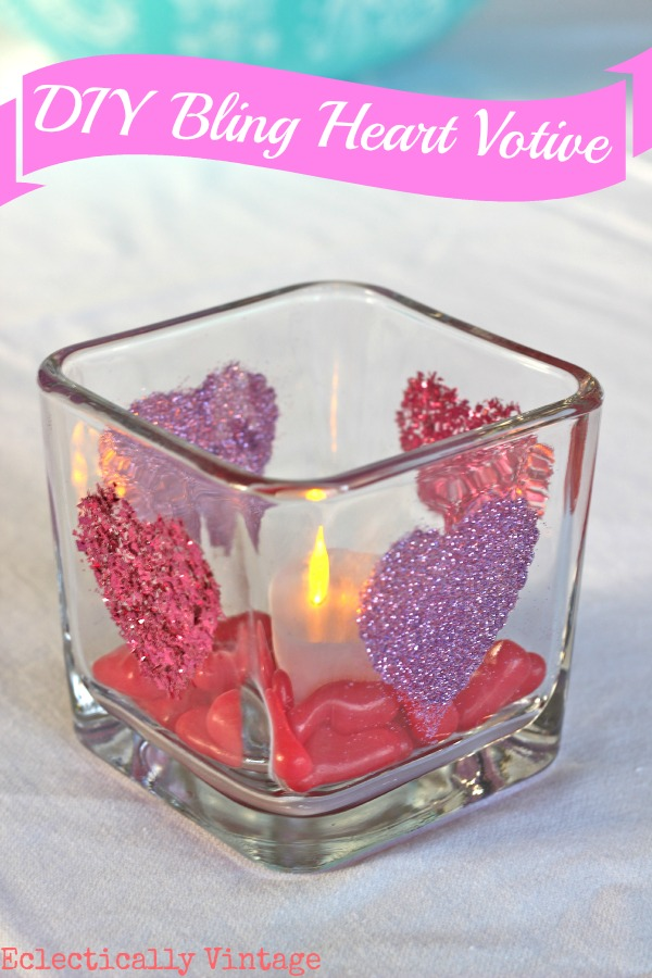 Make a glitter heart candle holder kellyelko.com