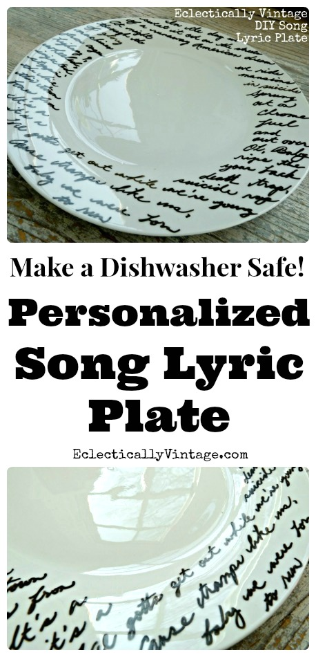 Make a Music Lyric Plate - the perfect gift! kellyelko.com