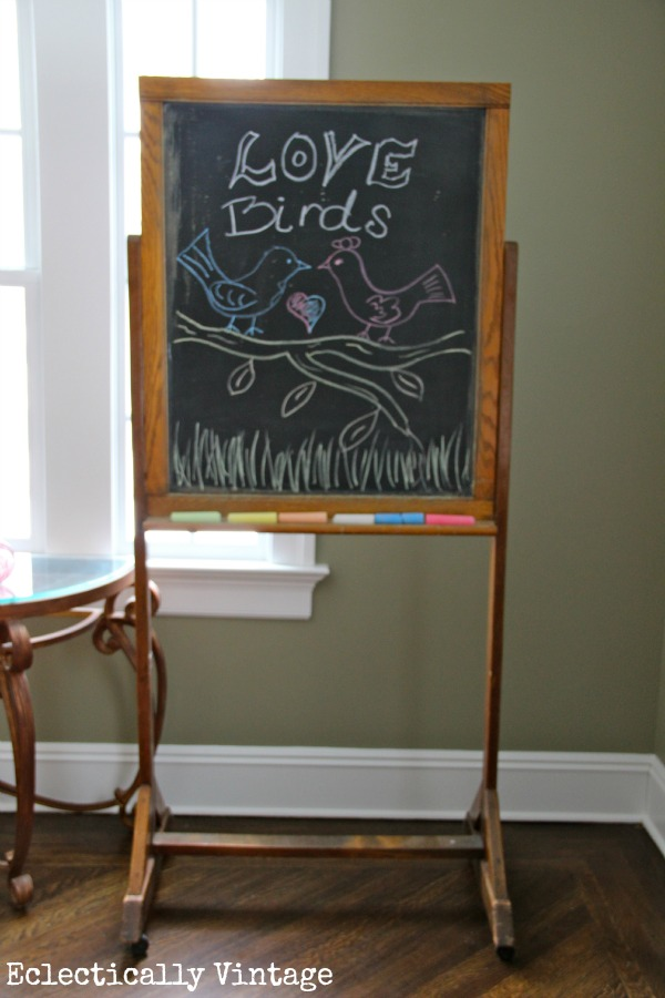 Antique Chalkboard (one of many fabulous vintage finds) kellyelko.com