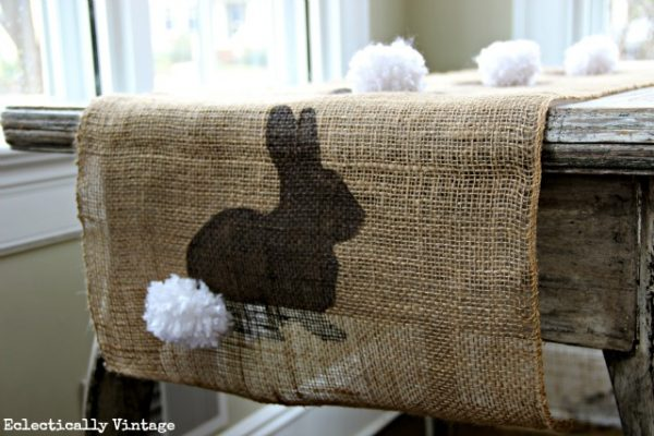 Make a Spring Craft Burlap Bunny Table Runner - with FREE graphic for stencil! kellyelko.com