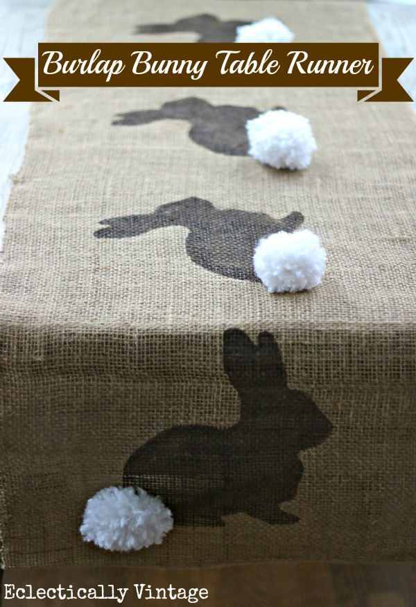 Eclectically Vintage burlap craft easter bunny rabbit pom poms