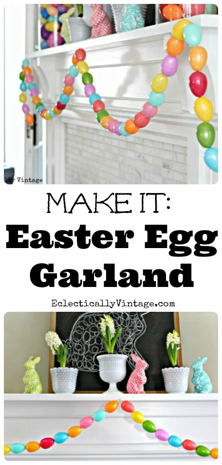 DIY Easter Egg Garland - a fun spring craft using plastic Easter eggs! kellyelko.com