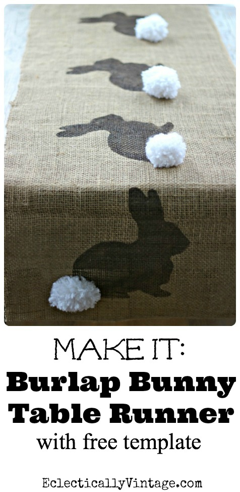 Make this Burlap Bunny Table Runner Easter Craft (& free bunny template) kellyelko.com
