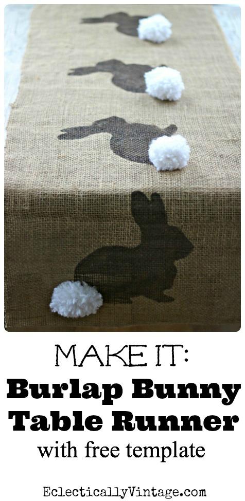 Make this Burlap Bunny Table Runner Easter Craft (& free bunny template) kellyelko.com