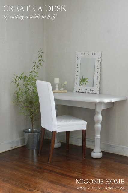 Cape Cod home tour filled with tons of fabulous DIY ideas!  Like this desk from a cut in half table!